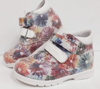 Тотто  ботинки белый/цветы