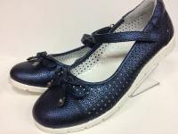 Mini-shoes туфли школьные синий/блеск